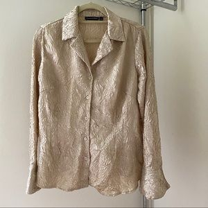 Vintage gold crinkled blouse